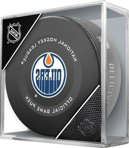 2019-2020 EDMONTON OILERS NHL OFFICIAL GAME PUCK  IN CUBED B
