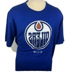 "NHL CCM Blue Edmonton Oilers Short Sleeve T Shirt Size XL ""W"