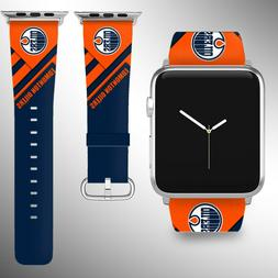 Edmonton Oilers Apple Watch Band 38 40 42 44 mm Fabric Leath