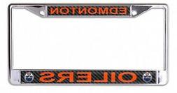 Edmonton Oilers Carbon Fiber Design Laser Frame Chrome Metal