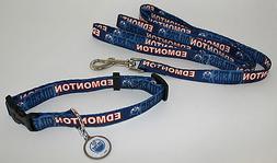 Edmonton Oilers Dog Collar & Leash ID Tag Pet Set NHL