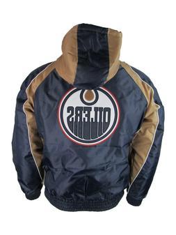 Edmonton Oilers Full Zip Hooded Winter Jacket Navy, Men's L