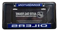 Edmonton Oilers NHL Black Metal Laser Cut License Plate Fram