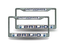 Edmonton Oilers NHL Chrome Metal  License Plate Frame Set