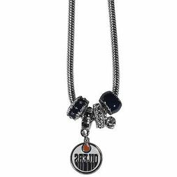 """edmonton oilers nhl euro bead necklace with 18"""" chain"""