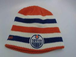 Edmonton Oilers Reebok NHL Knit Striped Orange White Blue Ha