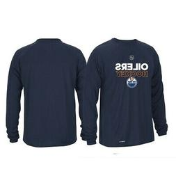 Edmonton Oilers NHL Adidas Mens Navy Climalite Long Sleeve A