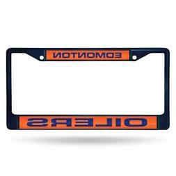 Edmonton Oilers NHL Navy Painted Metal Laser Cut License Pla