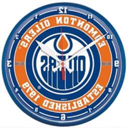 """Edmonton Oilers Official NHL Hockey Wall Clock 12.75"""" Diamet"""
