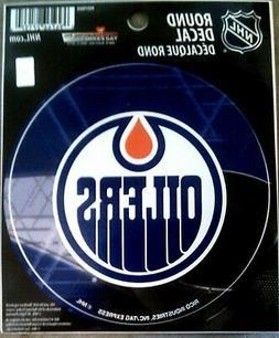 "Edmonton Oilers PV Rico 4"" Round Flat Vinyl Decal Bumper Sti"