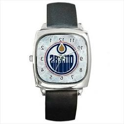 Edmonton Oilers Round & Square Leather Strap Watch - Hockey