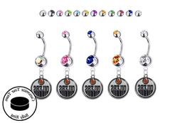 Edmonton Oilers Silver Belly Button Navel Ring - Customize G