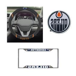 Edmonton Oilers Steering Wheel Cover, License Plate Frame, 3