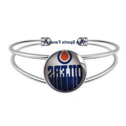 Edmonton Oilers Team Logo Adjustable Bangle Bracelet