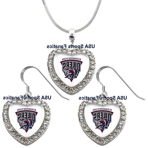 edmonton oilers 925 necklace earrings or set