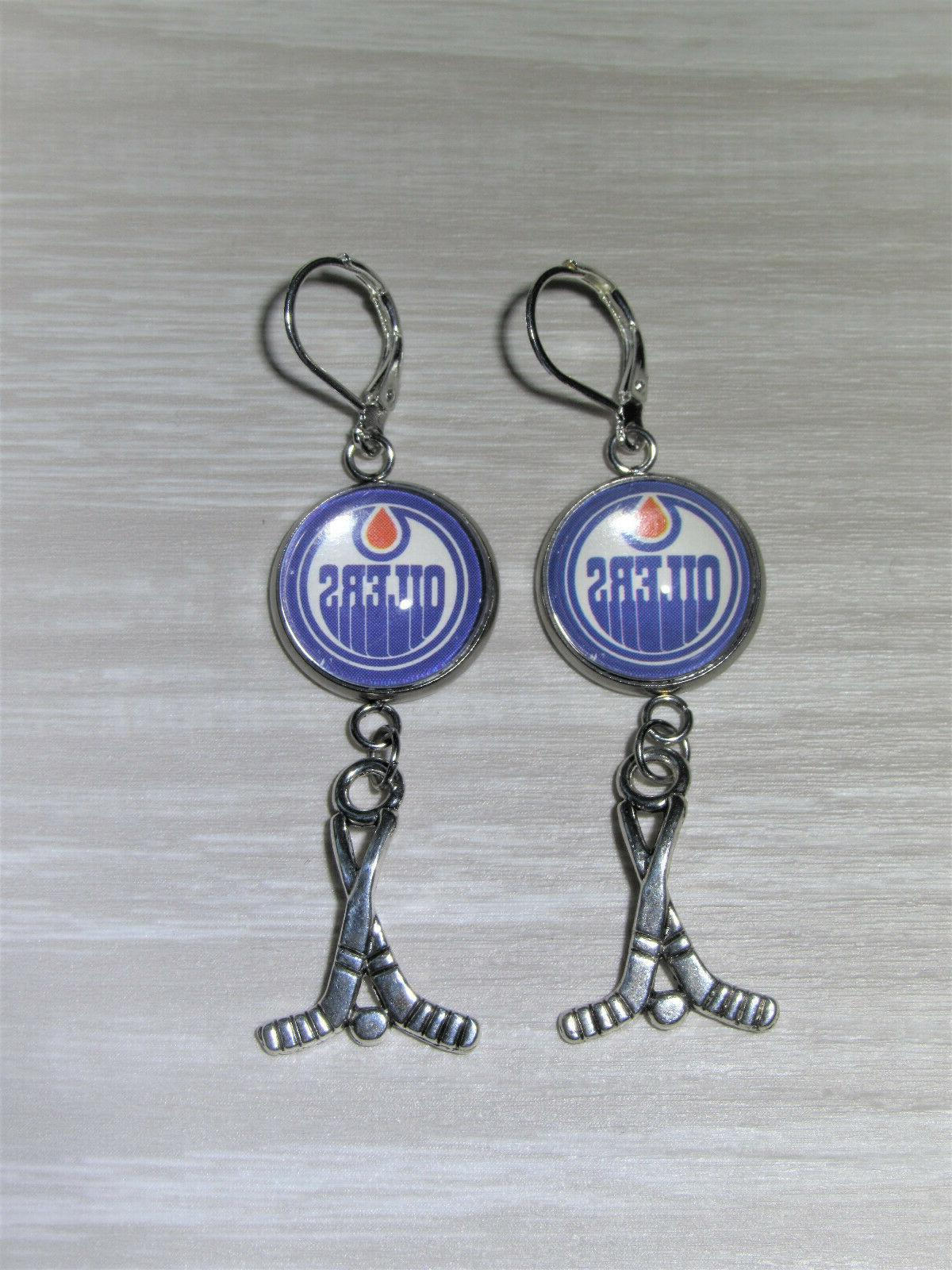 edmonton oilers earrings w hockey charm made