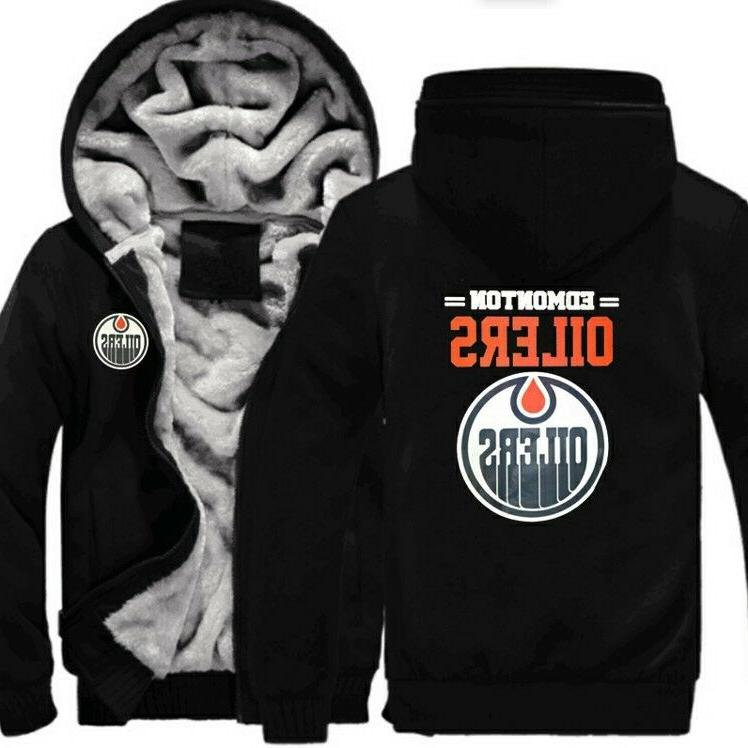 Edmonton Oilers Football fan thick Hoodie Fleece Sweater Coa