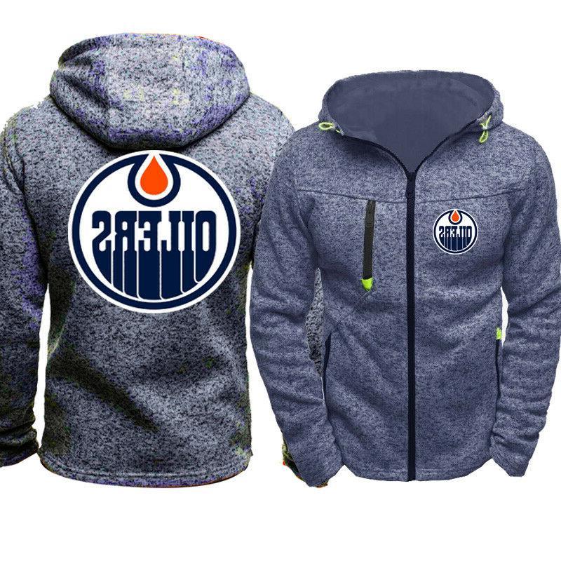 Edmonton Warm Hoodie Fans Hooded Sweatshirt Full-zip Jacket Coat