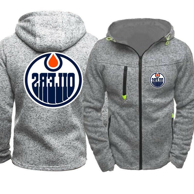 Edmonton Oilers Warm Hoodie Fans Hooded Sweatshirt Full-zip Jacket