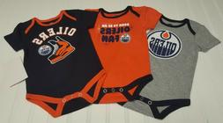 NHL Lot of 3 Edmonton Oilers Baby One Pieces Size 3-6 Mos NW
