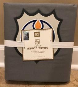 NEW Pottery Barn Teen GRAY NHL Patch TWIN Duvet EDMONTON OIL