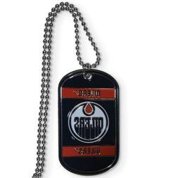 NHL Edmonton Oilers Dog Tag Necklace Enamel and Silvertone O