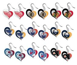 nhl swirl heart team dangle earrings pick