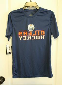 NWT Edmonton Oilers NHL Blue S/S Performance Tee T-Shirt Boy