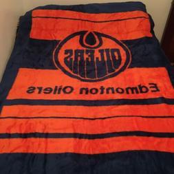 Vintage San Marcos Edmonton Oilers Nhl Throw Blanket Reversi